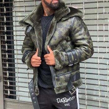 2021 New Leather Jacket Fashion Mens Camouflage Fur Collar Zipper Long Sleeve Plus Velvet Thicken Warm Fashion Leather Jacket
