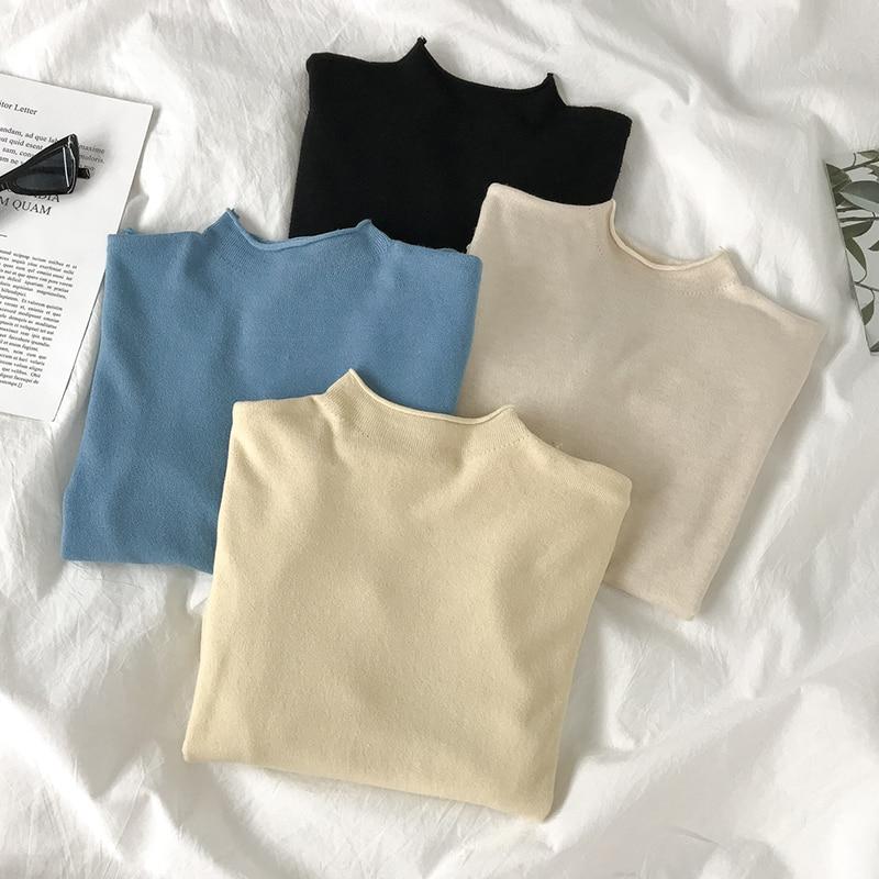 Slim Fit Slimming Bottoming Shirt Inner Wear Autumn and Winter 2020 Short Woolen Sweater Women's Lon
