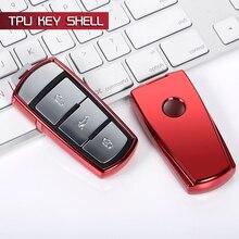 Car Key Shell wallet case TPU keyfob 3 BTN For Volkswagen VW CC Passat b6 b7 b8 Magotan R36 2017 Tiguan L Auto Decor Accessories