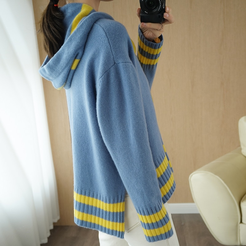 adohon 2021 woman winter 100% Cashmere sweaters autumn knitted Pullovers High Quality Warm Female thickening Hooded Patchwork enlarge
