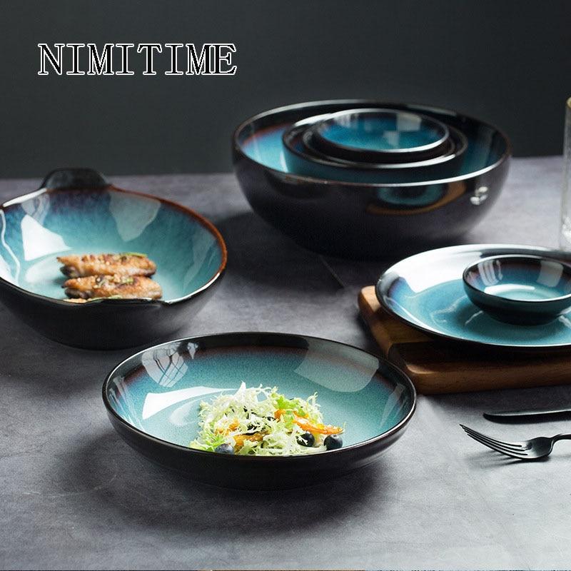 Japanese Style Ceramic Dish Combination Tableware Kiln Blue Tableware Rice Noodle Bowl Soup Bowl Steak Plate Fish Dinner Plate