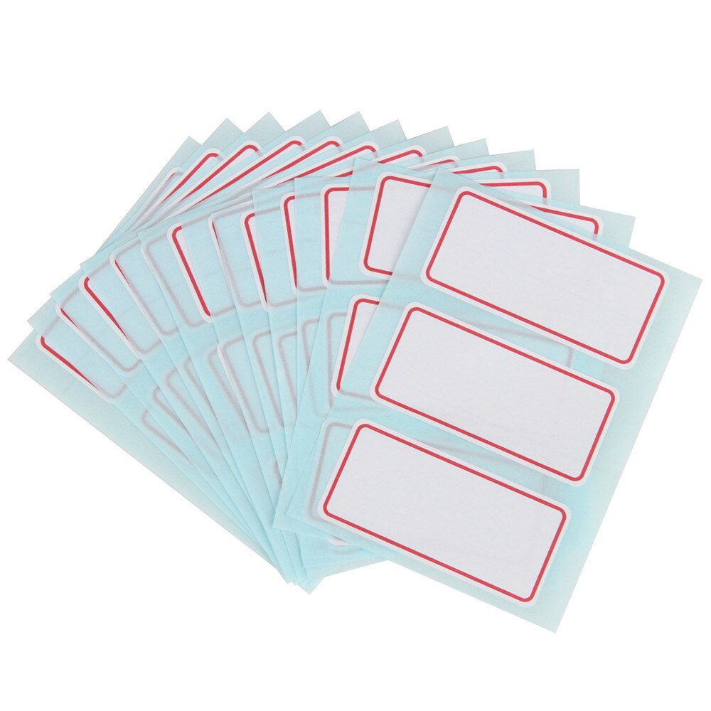 12 hojas de pegatinas en blanco 34*73mm autoadhesivo etiqueta cinta adhesiva adhesivo nombre etiqueta de número calcomanías escribibles papelería