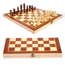 34X17X3.8cm en bois International jeu déchecs 3-en-1 route internationale échecs pliant Portable jeu de société mot échecs