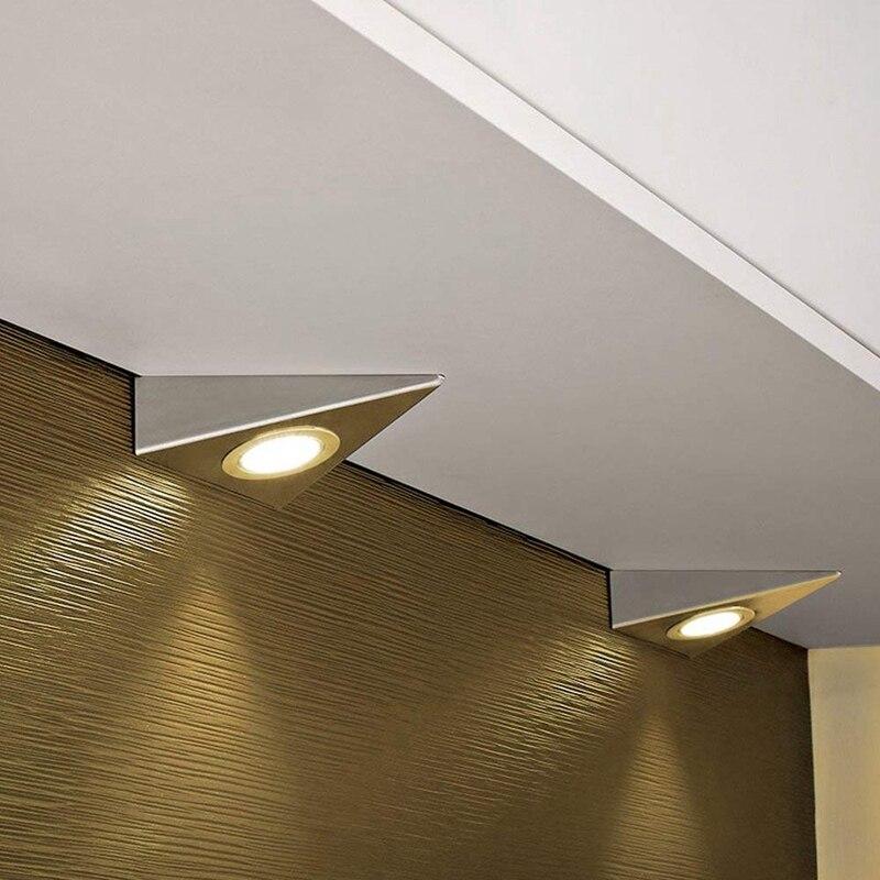 1 ud. De luz Led triangular para iluminación de armarios de cocina, luz descendente de acero inoxidable, blanco cálido