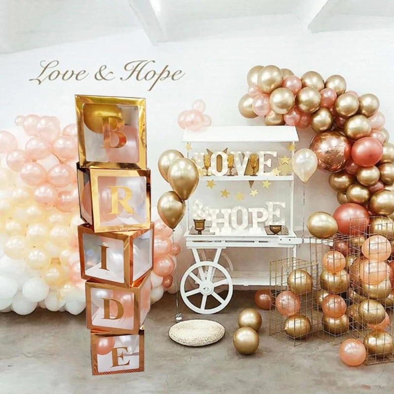 Rose Gold Party Bridal Shower Decor Bride To Be Balloon Box Wedding adult Birthday Party Decoration Bachelorette Party Supplies