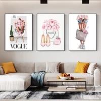 Parfum sac a main mode fille Vogue citation nordique affiches et impressions Art maison toile peinture mur photos pour salon