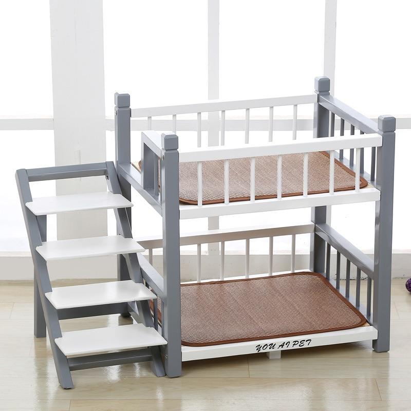 Elegante cama de madera para perros, colchón para mascotas, litera para gatos, sólida, jaula, perrera