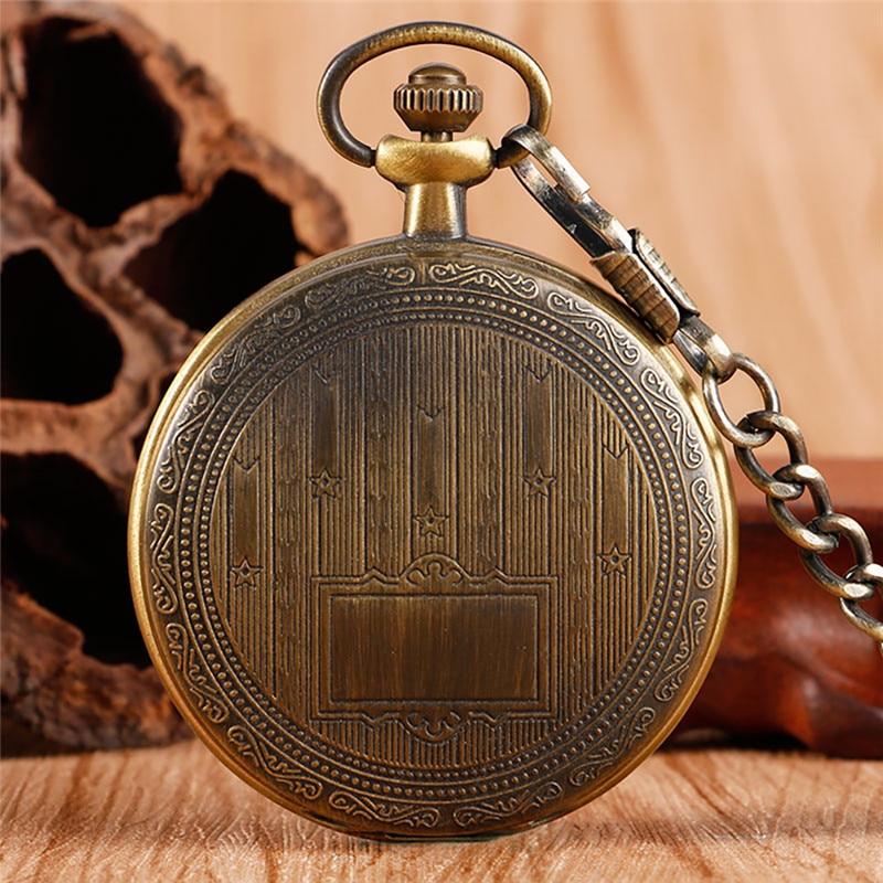 Bronze Vintage Style Men Women Handwinding Mechanical Skeleton Pocket Watches Full Hunter Case Pendant FOB Chain Clock Gift relo
