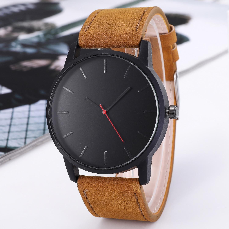 SHSHD Fashionable casual men's watch Dress watch business quartz Big dial watch abrasive leather bel