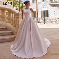 lorie spring pink satin wedding dresses a line boho princess bride dress o neck cap sleeve button wedding gowns pockets 2020
