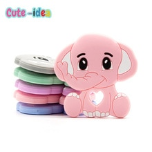 Cute-Idea 1pc Silicone Cartoon Animal Baby Teether Pacifier Chain Teething Food Grade Soft Chewable