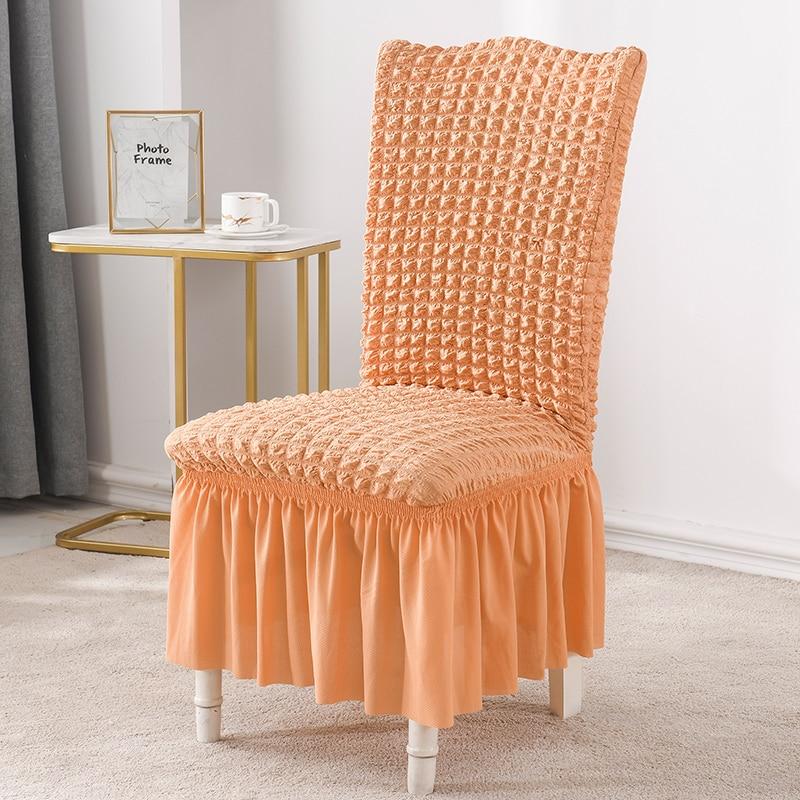 Luanqi Seersucker cubierta de silla para comedor banquete silla Slipcover Stretch silla falda elástico suministro de boda decoración