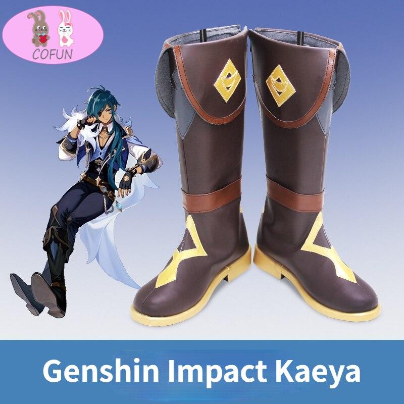 جينشين تأثير كايا تأثيري أحذية الرجال أنبوب طويل أنيمي تأثيري هالوين بولي leather الجلود حسب الطلب
