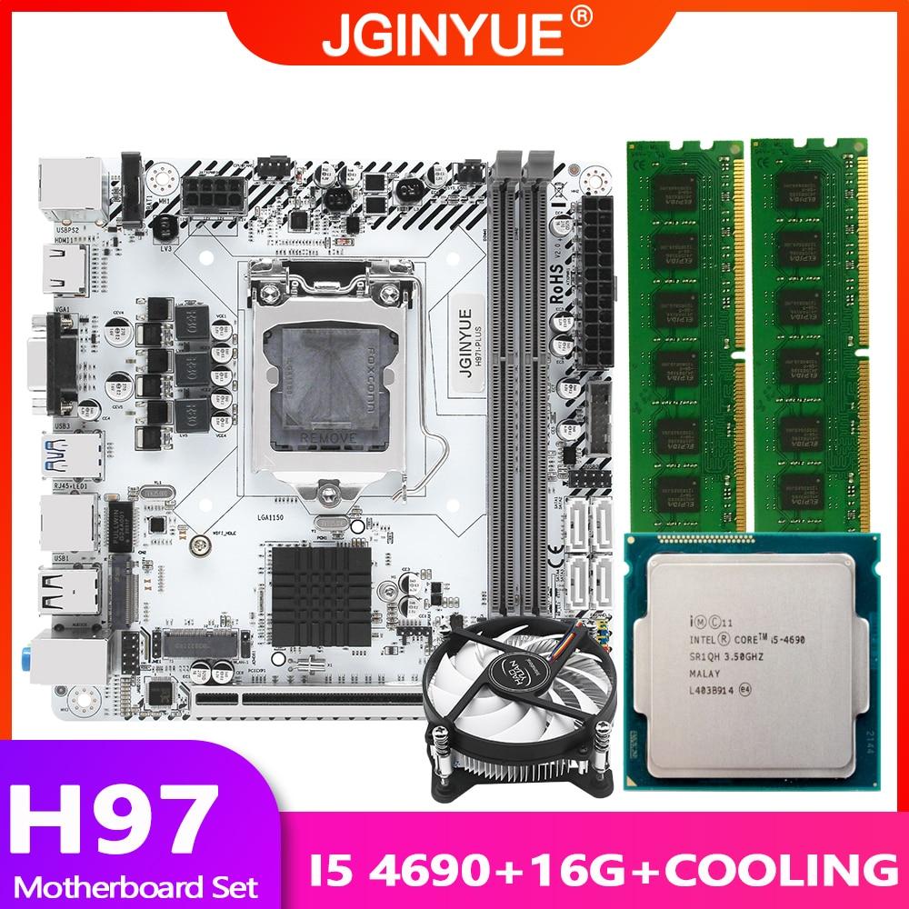 H97 اللوحة LGA 1150 مجموعة عدة مع إنتل كور I5 4690 معالج 16G(2*8G) RAM الذاكرة مع برودة التبريد مروحة H97I-PLUS