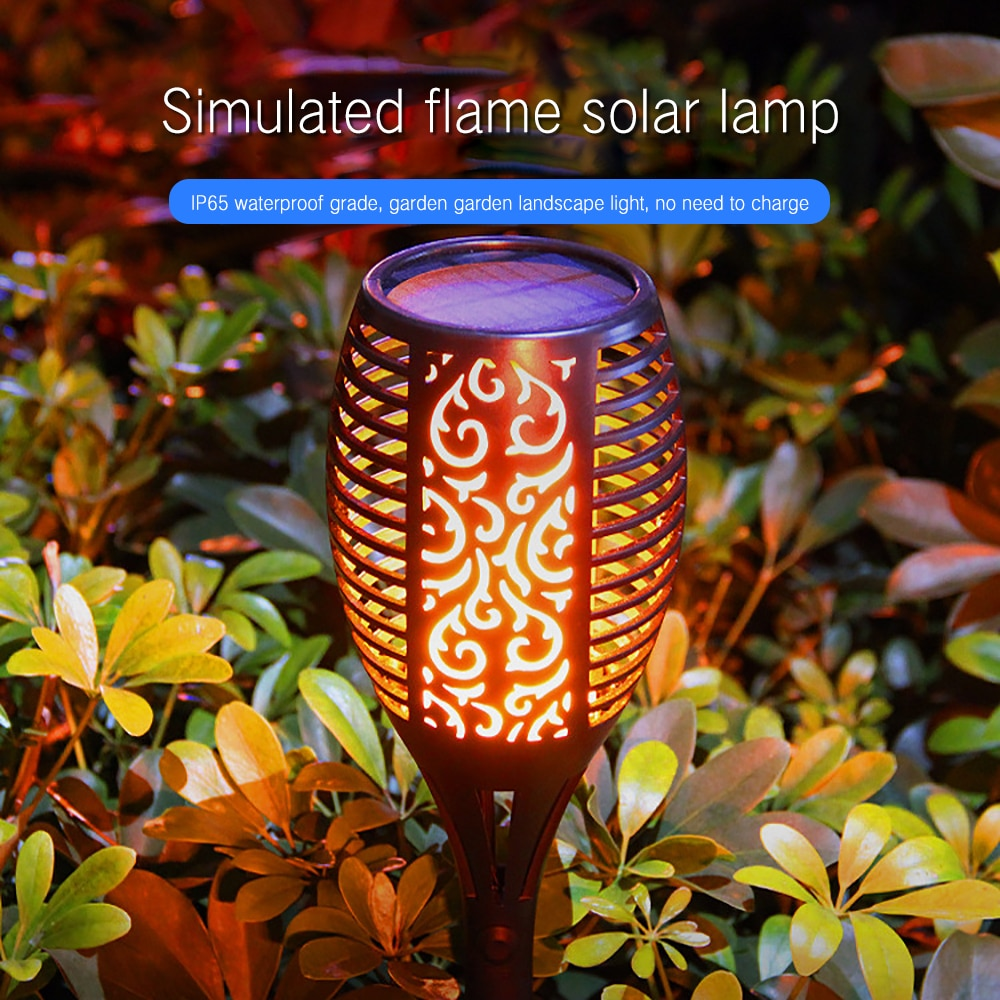 Lámpara de llama Solar 96 LED, parpadeante, impermeable, decoración de jardín, paisaje, lámpara de césped, lámpara de iluminación para camino, linterna para exterior