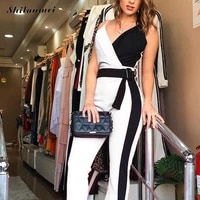 office lady sexy long jumpsuits patchwork sashes rompers women elegant fashion party wear ol style v neck sleeveless playsuits