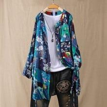 Grande taille 5XL hauts en lin femmes automne Blouse imprimé Floral Vintage boutons chemises à manches longues Blusas Cardigans hiver hauts amples