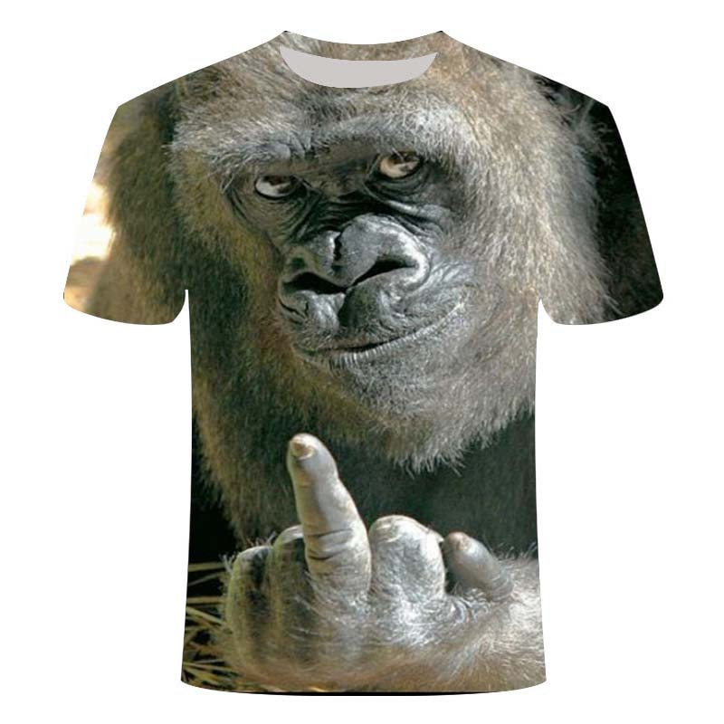 T-shirts 3D Men 2020 Summer Printed Animal Monkey T-shirt Short Sleeve Funny Design Casual Tops Tees Male T-shirt  Size XXS-6XL high quality french bulldog frenchies printed t shirt for men male dogs animal lovers short sleeve o neck cotton funny t shirt