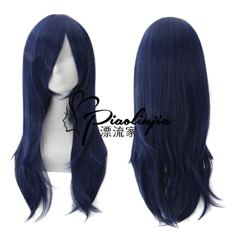 Купить с кэшбэком Cosplay League of Legends  Lal Mirch  Blue-black Nine-tailed Fox Curly Hair Wig  LOL  Lal Mirch  Blue-black Curly Hair Wig 60cm