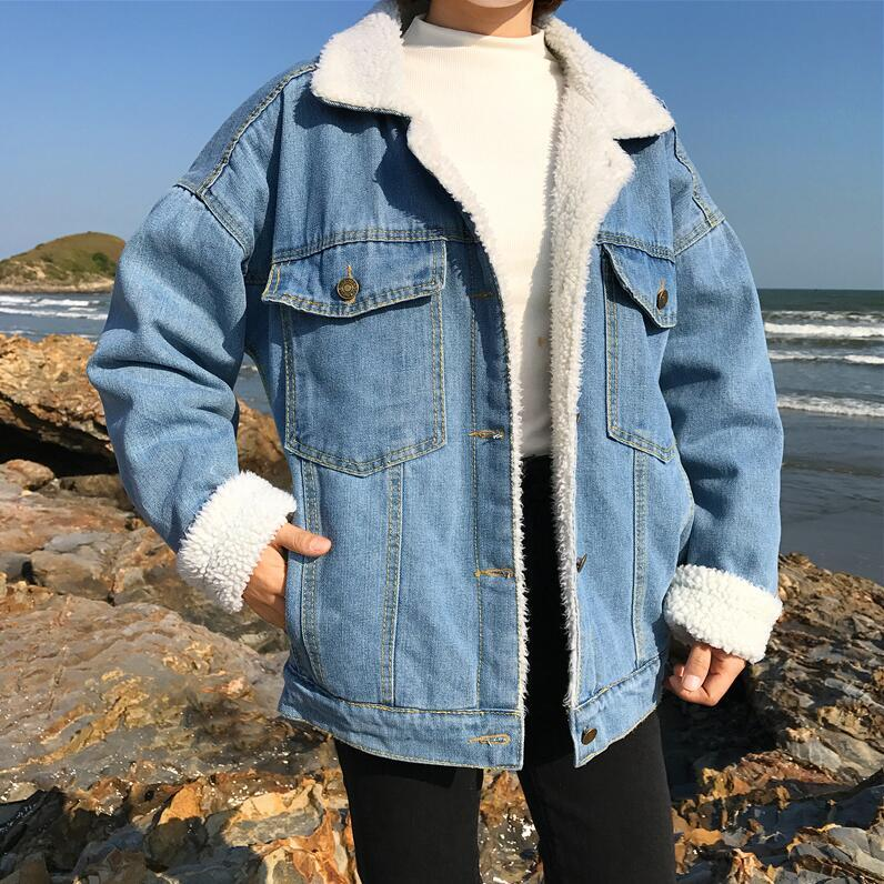 casual thick warm blue Winter coat for women New student style Autumn Lamb wool Jeans Denim Jackets