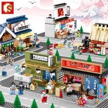 Sembo Style japonais vue de rue collations rue Compatible filles éducatif bricolage petite particule bloc de construction jouets de construction