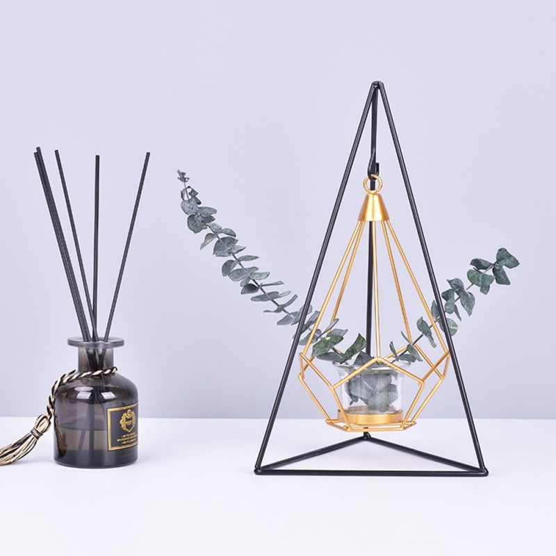 Moderno geométrico pendurado castiçal de metal ouro tealight castiçal com suporte de ferro preto airplant exibir suportes decoração da sua casa