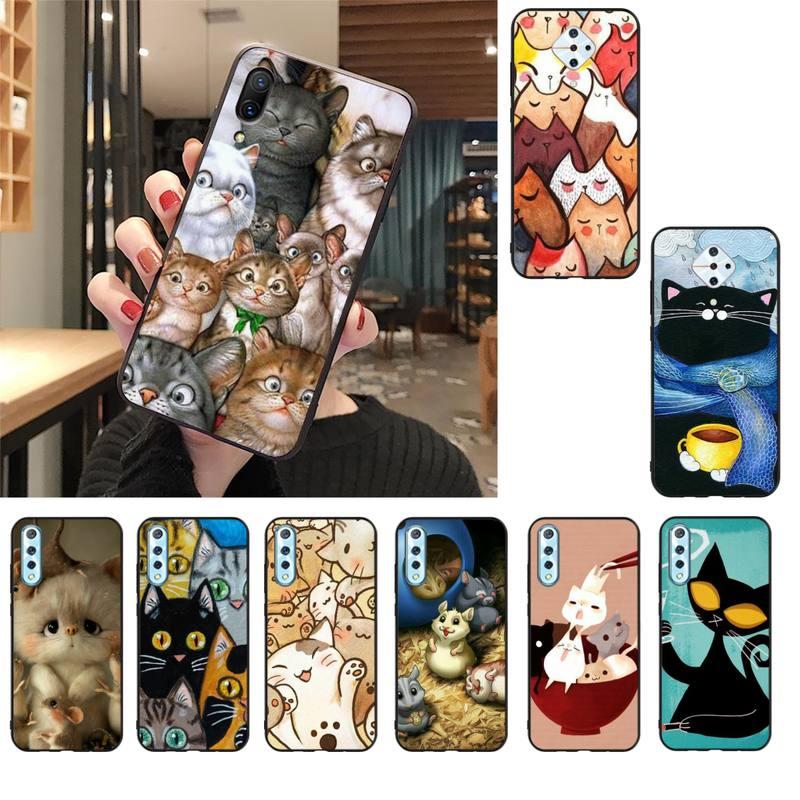 MaiYaCa, Gato de dibujos animados, bonito ratón, cerdo, gatos, funda de teléfono para Vivo V17 Neo Y91C Y11 Y19 Y17 Y15 U1 U3 V11i IQOO V11 V15 Pro V17