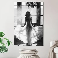 Noir et blanc fenetre fille nordique toile peinture mode feuille dor fleurs affiches mur Art photos salon decor a la maison