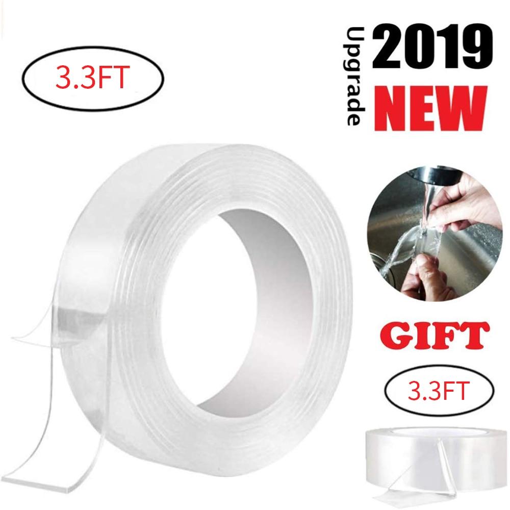 Rollo de cinta adhesiva de doble cara, cinta adhesiva de 3,3 pies sin traza lavable, Gel de agarre reutilizable, almohadillas de Nano Gel para fijación