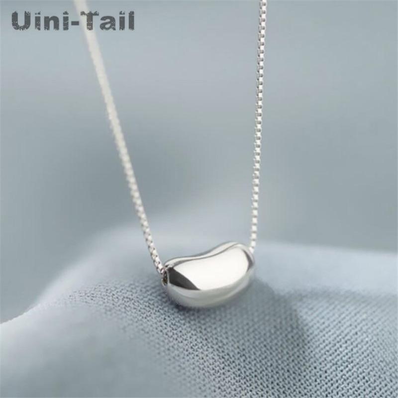 uini-хвост-новый-дизайн-распродажа-925-серебро-темперамент-lucky-Гладкий-горох-ожерелье-с-подвеской-простое-маленькие-и-милые-ювелирные-изделия