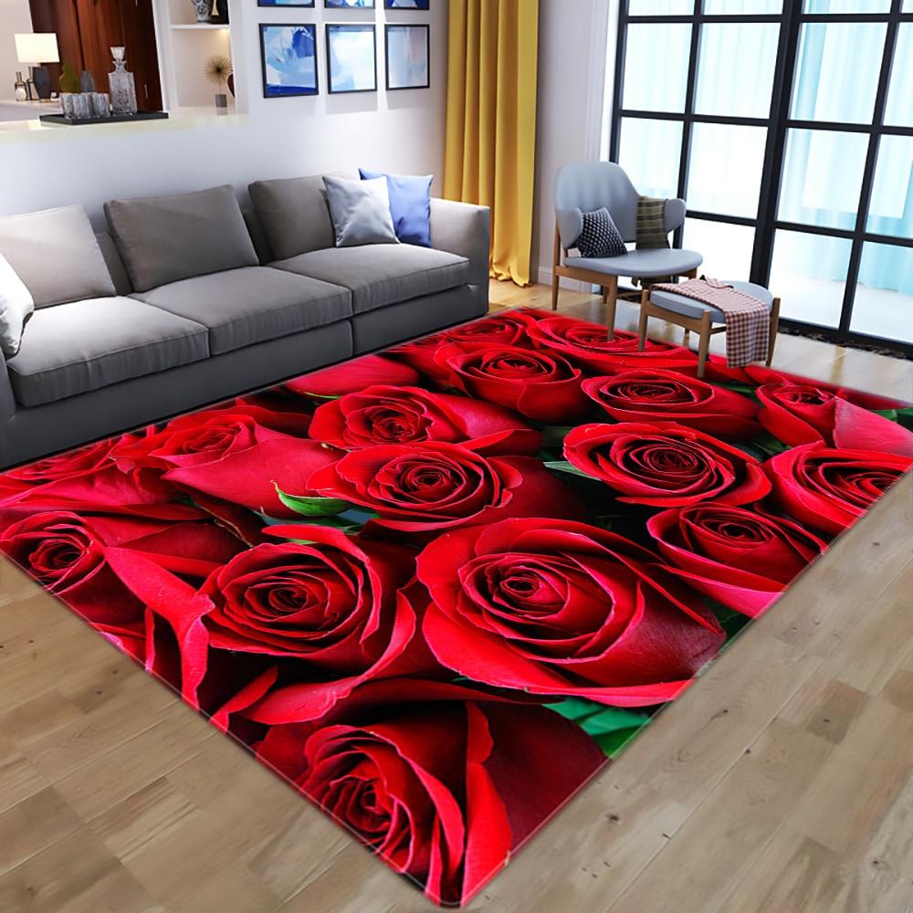 Household 3D Rose Flower Living Room Bedroom Dining Carpet Bay Window Non-Slip Mat Red Door