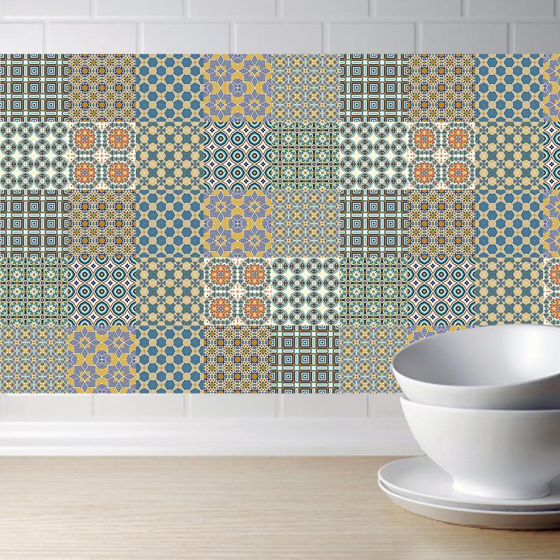 Moroccan Tile stickers Waterproof Bathroom Kitchen Sticker Self-adhesive Home Decoration TV Sofa Wall Art Mural