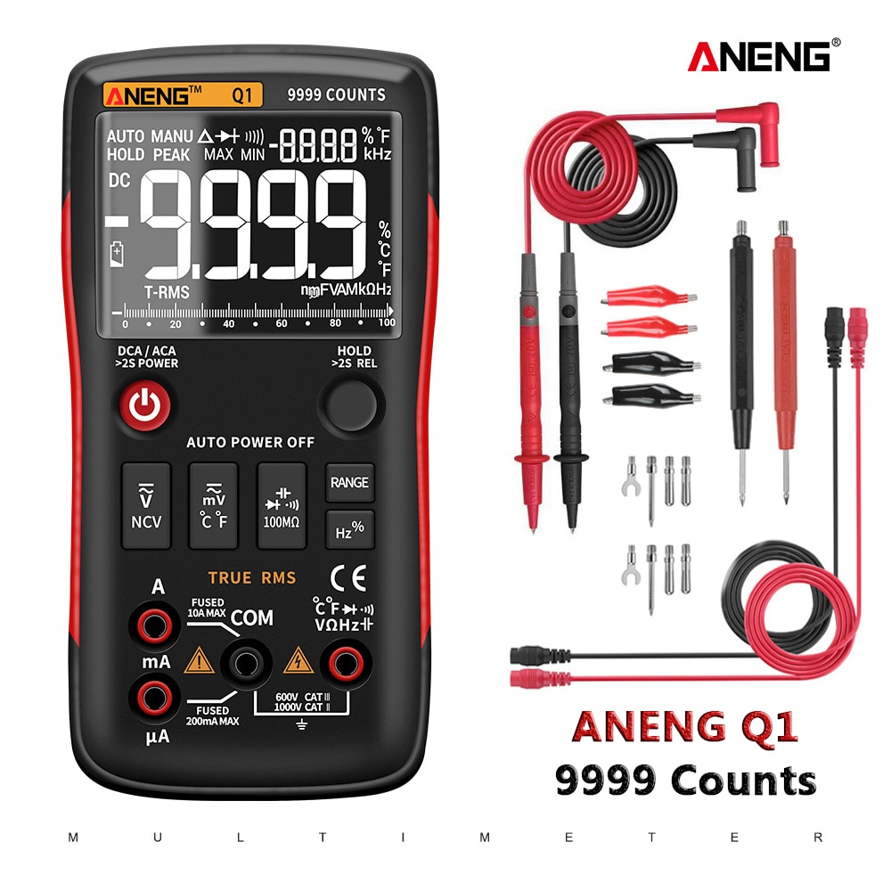 ANENG Q1 الرقمية المتعدد 9999 التناظرية تستر صحيح RMS المهنية مولتيمترو لتقوم بها بنفسك مكثف الترانزستور NCV اختبار مقياس قدرة دائرة التوالي