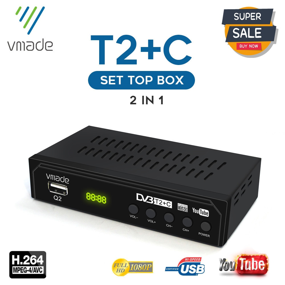 New Digital TV Set Top box DVB T2 terrestrial receiver H.264 decoder DVB T2 TV tuner support USB WIFI Youtube TV receiver DVB T2 недорого