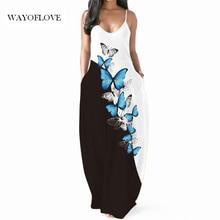 WAYOFLOVE Butterfly Print Sexy Strap Dress 2021 Robe Casual Long Dresses Summer Sundresses Beach Par