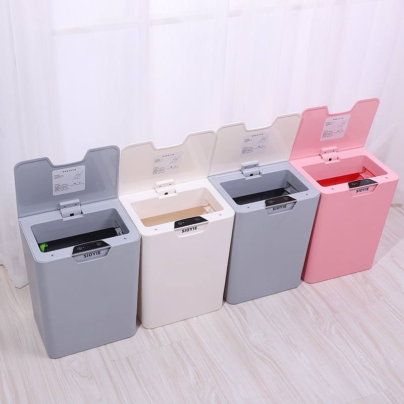 Smart Sensor Trash Can Automatic Home Office Creative Nordic Folding Bathroom Trash Can Kitchen Kosz Na Smieci Home Products DG5 enlarge