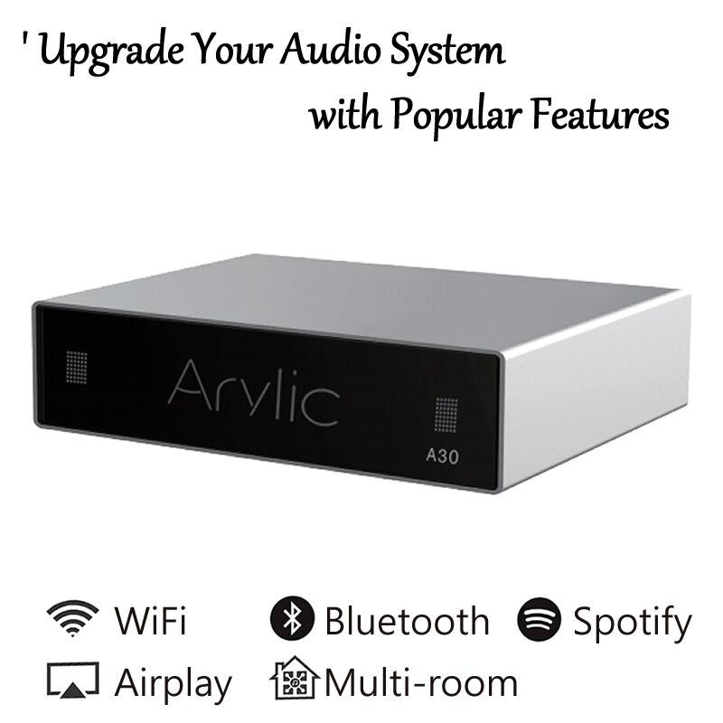 A30 WiFi ו-bluetooth מגבר אלחוטי אודיו מקלט HiFi Class D מיני כוסיות רב חדר DLNA Airplay Spotify משלוח אפליקציה