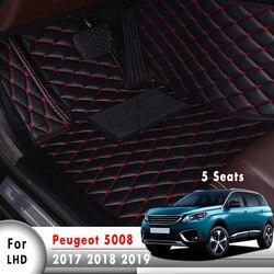Esteiras do assoalho carro para peugeot 5008 mk2 2019 2018 2017 5 assentos tapetes de couro do carro traço floorliners estilo automóvel protetor