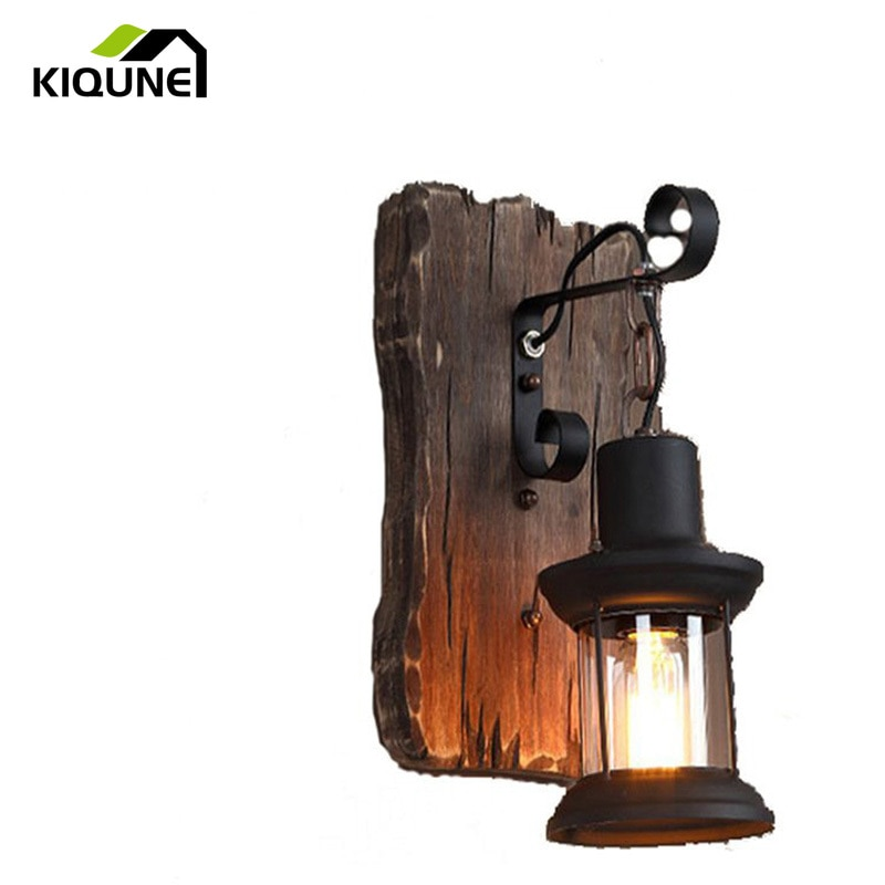 American Retro Industrial Wind Wall Lamp Loft Solid Wood Creative Personality Bar Cafe Restaurant Boat Wood Decorative Lamp creative personality american restaurant chandelier lamp romantic cafe bar iron chandelier retro wind industry zzp727pp