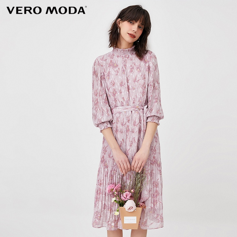 Vero Moda-فستان طويل بياقة مطاطية للنساء ، 3/4 كم ، فستان طويل