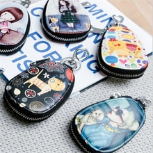 Fashion Key Bag Cartoon Women  Girl Students Leather Key Wallets Key Case For Car Key Chains Cover N