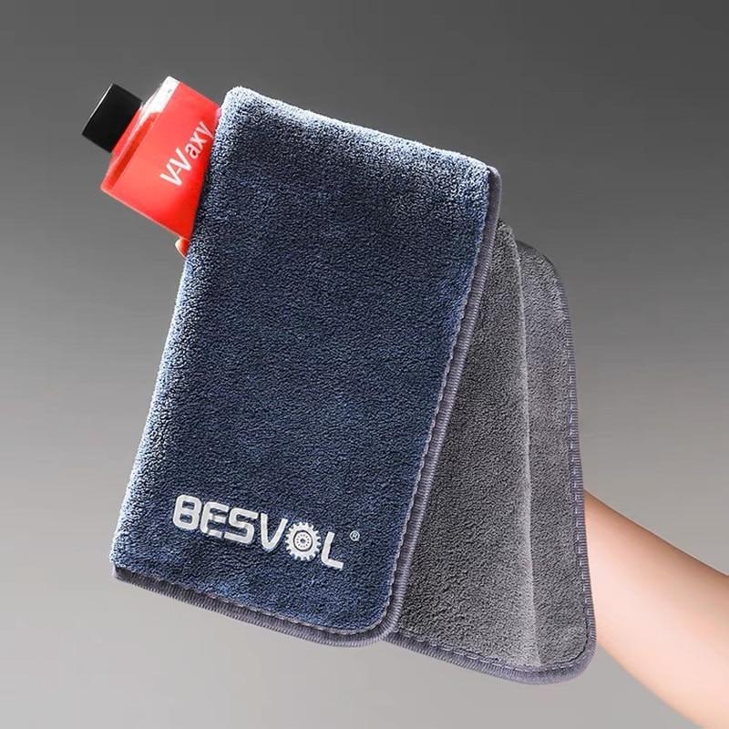 40X40CM 800 GSM High-end Clean double surface Coral Fleece Microfiber Towel   Hemming Car Care Cloth Detailing Car Wash Towel