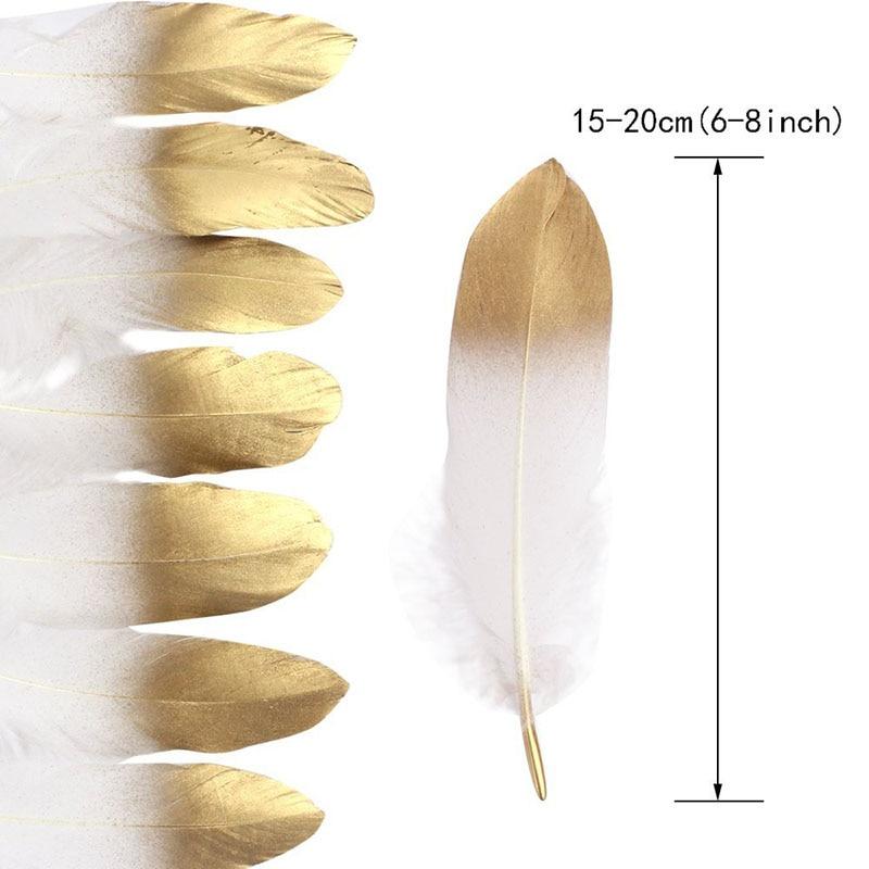 Nueva pluma de ganso blanco Natural bañada en oro con purpurina, plumas decorativas para manualidades, accesorios DIY, decoración de boda
