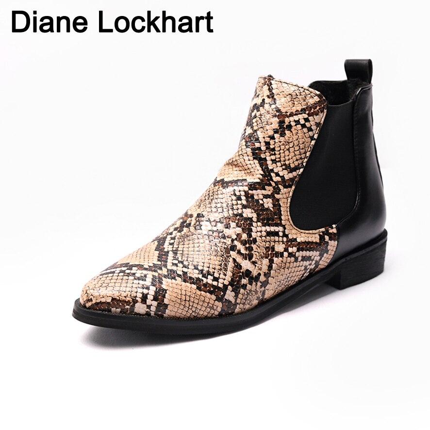 Botas cortas con estampado de serpiente de colores mezclados para mujer, botas de cuero para mujer, botas de mujer de marca Chaussure Bottes para mujer primavera otoño 41 42