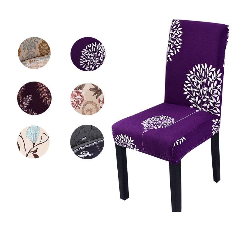 Fundas De LICRA impresas para silla, cubierta elástica para asiento De comedor para silla De oficina, fundas removibles Anti-suciedad, fundas De silla butaca