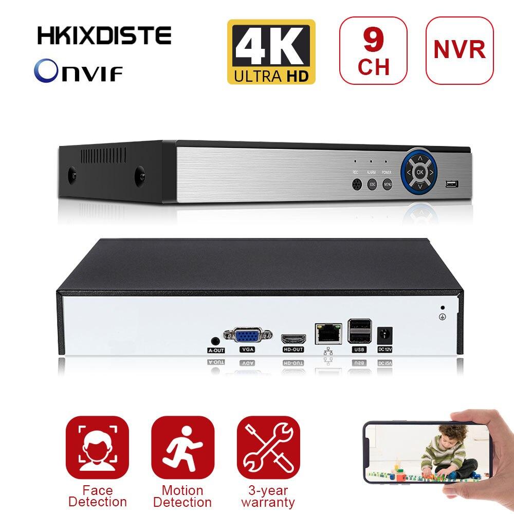 مسجل فيديو رقمي XMEYE CMS 8 تيرا بايت كحد أقصى ، 9CH * 4K ONVIF H.265/H.264 يدعم 1 SATA شبكة NVR ، مع كابل P2P Cloud Mobile