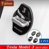 4pcsset model3 car door lock protective cover stainless steel for tesla model 3 2021 door sticker car styling accessories three