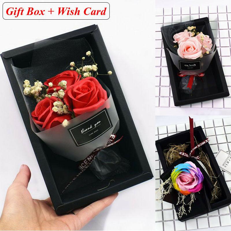 Ramo de flores de jabón rosa con caja de regalo para el día de la madre regalo del Día de San Valentín decoraciones fiesta caliente