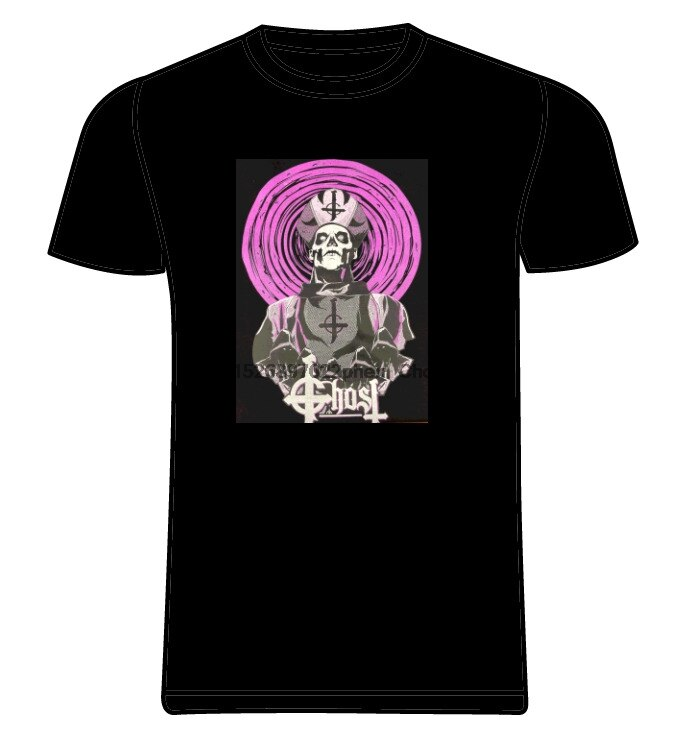 Novo fantasma sueco rock band roxo papa emeritus esqueleto bispo preto t camisa