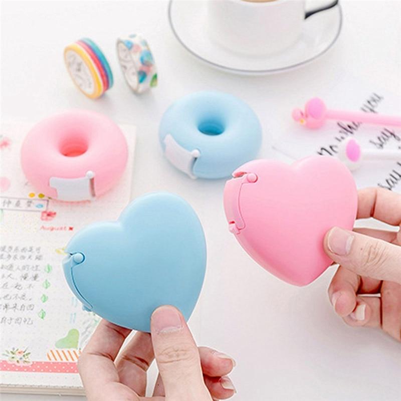 Cortador de cinta adhesiva Color caramelo amor corazón/Donut forma Washi cinta cortador pegatinas cortador cinta dispensador papelería material escolar